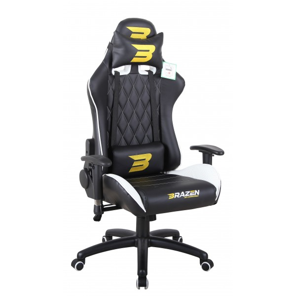 BraZen Phantom Elite Racing PC Gaming Chair - White