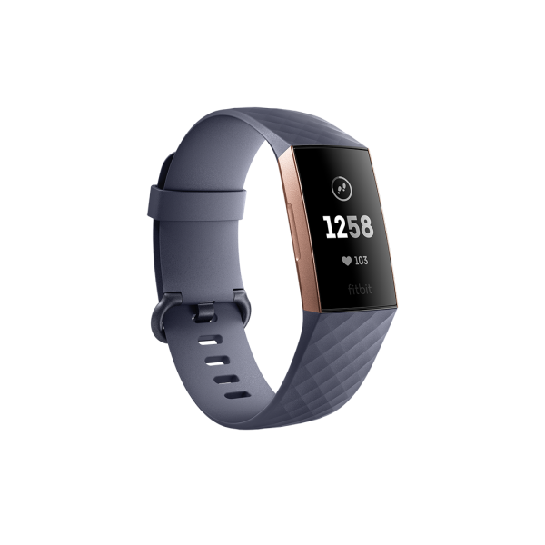 Fitbit Charge 3 Health and Fitness Tracker - Blue-Grey / Rose-Gold Aluminium