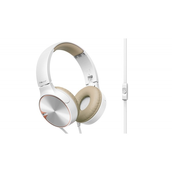 Pioneer SE-MJ722T On-ear Headphones-White Brown